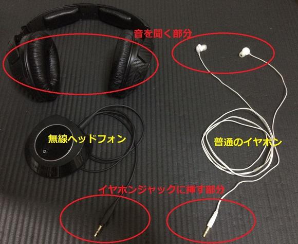 無線ヘッドフォンと普通のイヤホン