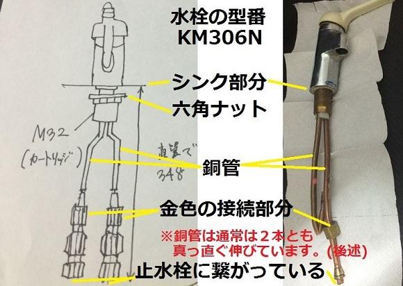 銅管で六角ナットで固定の混合水栓(KM306N)の図