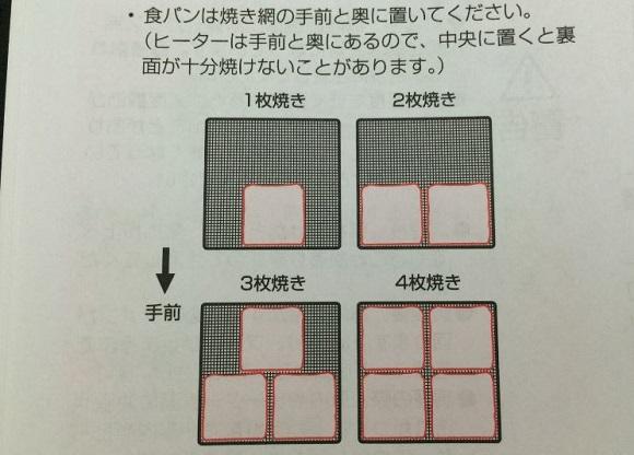 アイリスオーヤマのFVX-M3Aの説明書に記載のトーストを焼く時の置き方