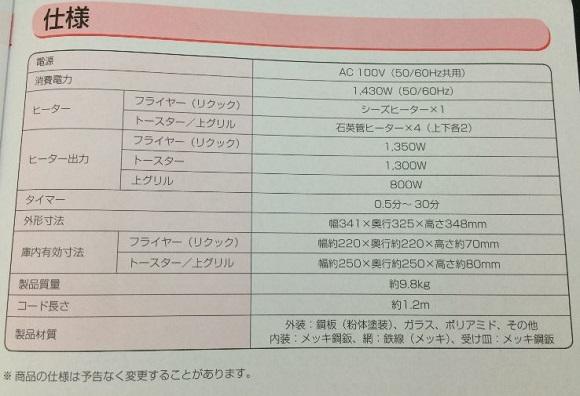 アイリスオーヤマの熱風オーブンFVX-M3A-Wの仕様表