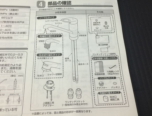 TOTOのTKGG31Eの説明書の「部品の確認」のページ