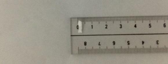 PS5HMSDでカットしたゴミの横幅3mm弱の物